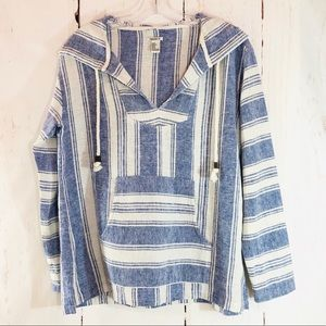 FOREVER 21 | Baja Blue Stripe Hoodie Pullover S
